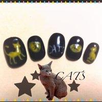 友達が劇団四季のキャッツが好きなので作ってみました♪黄色い猫はいない方が雰囲気でたかも〜! #ハンド #アニマル柄 #ブラック #ジェル #セルフネイル #trickghost #ネイルブック
