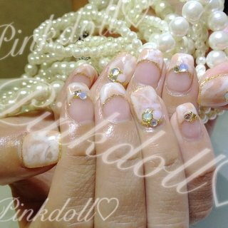 天然石ネイル♡透け感がかわいー\(^o^)/ #pinkdoll1115 #ネイルブック