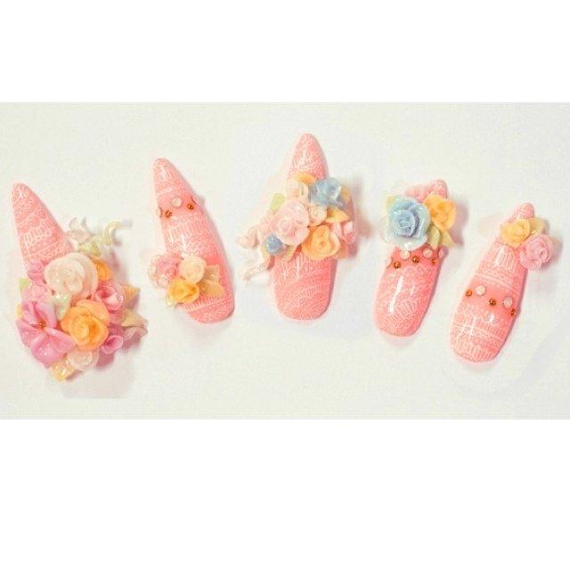 レースペイントに3Dのお花で豪華に☆ コンテストの作品 #Ami Yamashita #ネイルブック