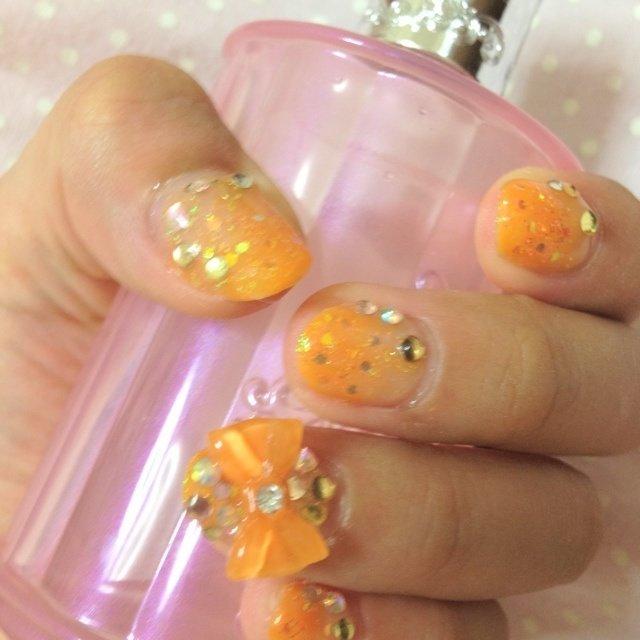 左手です! #オレンジ #セルフネイル #mako_loves #ネイルブック