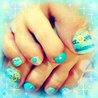 マリン☆ #夏 #フット #マリン #ブルー #ジェル #tamatomota #ネイルブック