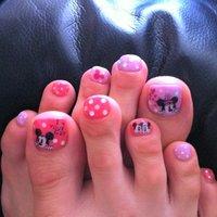 ミニー ミッキー #フット #ホログラム #ピンク #ジェル #セルフネイル #Takako Kato #ネイルブック