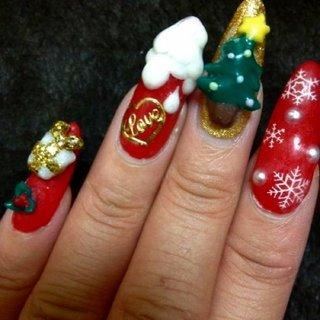 #Nailbook #クリスマス #ハンド #ワンカラー #レッド #ジェル #セルフネイル #tirol1209 #ネイルブック