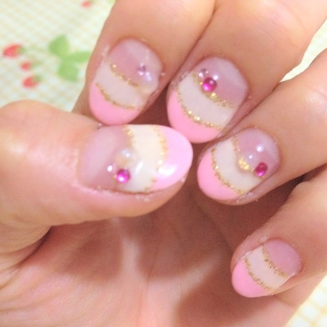 二色フレンチ⋆′◡ु͐‵⋆ #ハンド #フレンチ #ピンク #セルフネイル #Natsumi Hori #ネイルブック