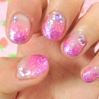 ピンク×パープルのラメグラデ★ #ハンド #グラデーション #ピンク #セルフネイル #Natsumi Hori #ネイルブック