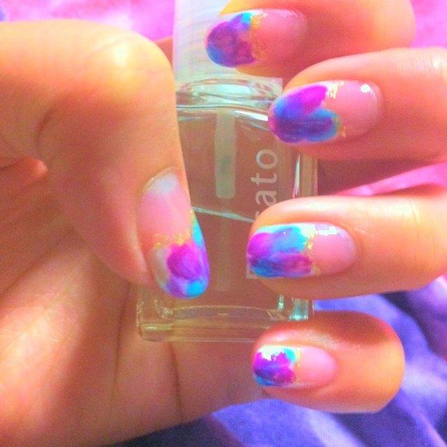 purple turquoiseblue♡♡ タイダイ柄 フレンチ #夏 #ハンド #タイダイ #パープル #マニキュア #セルフネイル #00xmokachon #ネイルブック