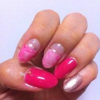 ピンク系マーブルのランダムネイル♪久々に凝ったことしてみた♡なかなかの出来だと自負しておりますっ! #ハンド #マニキュア #セルフネイル #asako_xxx #ネイルブック