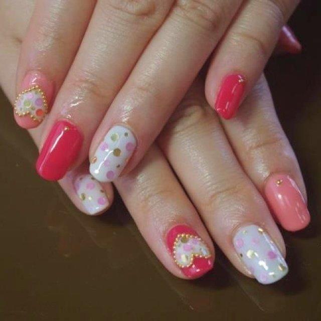 ハート&ドット #ハンド #ピンク #ジェル #Nanae Kakoi #ネイルブック