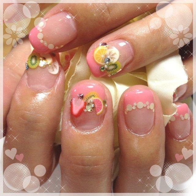 フルーツ盛りネイル #ハンド #ピンク #ジェル #お客様 #heartnail #ネイルブック