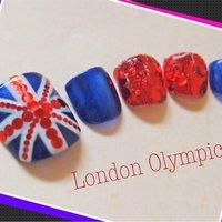 ロンドンオリンピック! ユニオンジャックフットサンプル #スポーツ #フット #国旗 #ブルー #ジェル #ネイルチップ #GraceNail #ネイルブック