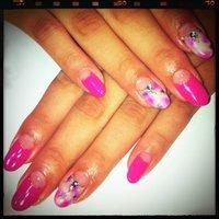 ピンクとパープルのタイダイ(*^^*)ちょーお気にっ☆ #夏 #変形フレンチ #ピンク #ジェル #花塚千容 #ネイルブック