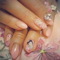 桜の着物の時に桜ネイル♪松潤の写ネイルで幸せ気分でした(笑) #春 #ハンド #ピンク #ジェル #chrome0429 #ネイルブック