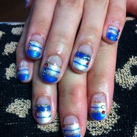 夏やで~ #夏 #ハンド #ボーダー #ブルー #ジェル #お客様 #Oshima Maiko #ネイルブック