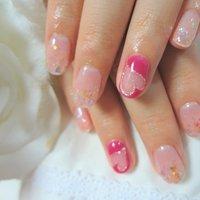 くりぬき❤親指はVフレンチです。仙台市若林区の格安ホームサロン(^ ^) #ピンク #お客様 #coco_k0401 #ネイルブック