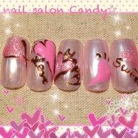 ピンクのハートを指先に集めました✨ #デート #ハンド #ハート #ピンク #ジェル #candy1016_v #ネイルブック