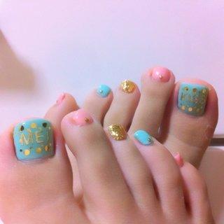 my foot nail♡ #フット #パステル #ジェル #セルフネイル #sujin_104 #ネイルブック