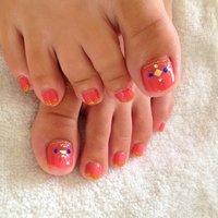 夏らしく明るくピンクに(^O^☆♪ #フット #ワンカラー #ジェル #お客様 #荒田茉衣子 #ネイルブック