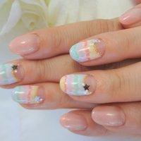 カラフルピーコック☆彡星が似合ってます。仙台市若林区の格安ホームサロン(o^^o) #マーブル #カラフル #ジェル #お客様 #coco_k0401 #ネイルブック