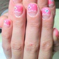 ラブリー好きには、たまらない☆ピンク×レース×お花❤お姉ちゃんにしました♪ #デート #フレンチ #ピンク #9393ooo #ネイルブック