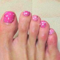 お気に入りフットジェルネイル! ストーンはクリスタルとピンクをランダムに! #ドット #ピンク #123Tsn #ネイルブック