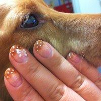 愛犬とダブルフレンチ&ドットで秋ネイル 色お揃い~(。-_-。) #mokalove22000 #ネイルブック