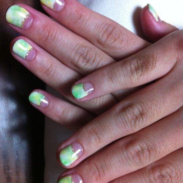 緑×黄色★タイダイ #chaki0208 #ネイルブック