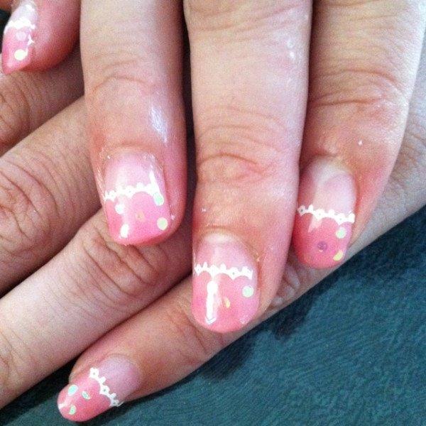 ピンク水玉レース♪ #ayako_pingu #ネイルブック
