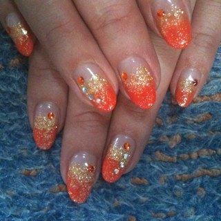 オレンジ&ゴールド♪ #k_keiko #ネイルブック