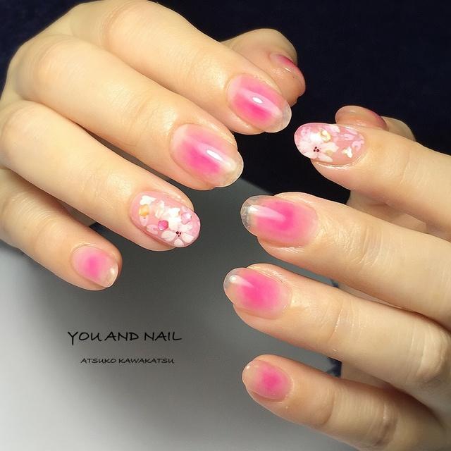 桜&オフェロ #ショート #ピンク #チーク #ハンド #女子会 #春 #ジェルネイル #お客様 #YouAndNail #ネイルブック