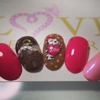 バレンタインネイル! #バレンタイン #ハンド #キャラクター #ピンク #lovejewelry nail #ネイルブック