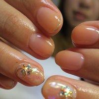 グラデーションネイル❤︎今人気ホイル散りばめて❤︎ #春 #成人式 #入学式 #パーティー #ハンド #ラメ #クリア #オレンジ #lovejewelry nail #ネイルブック