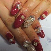 ボルドー‼︎ #成人式 #バレンタイン #オフィス #ハンド #ワンカラー #べっ甲 #マーブル #ミディアム #ボルドー #ブラウン #ジェル #lovejewelry nail #ネイルブック
