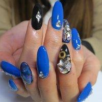 Blue×Black‼︎ #成人式 #パーティー #ハンド #ワンカラー #マーブル #ギャラクシー #ロング #ブルー #ブラック #カラフル #スカルプチュア #lovejewelry nail #ネイルブック
