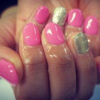 pink‼︎ #オフィス #デート #ハンド #ワンカラー #ショート #ピンク #シルバー #ジェル #lovejewelry nail #ネイルブック