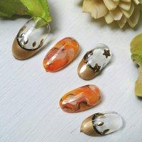 #オレンジ #ブラック #ゴールド #ジェル #nail garden... #ネイルブック
