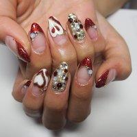 ラメアート❤︎ #春 #バレンタイン #パーティー #女子会 #ハンド #ラメ #プッチ #ミディアム #ホワイト #レッド #ゴールド #ジェル #lovejewelry nail #ネイルブック