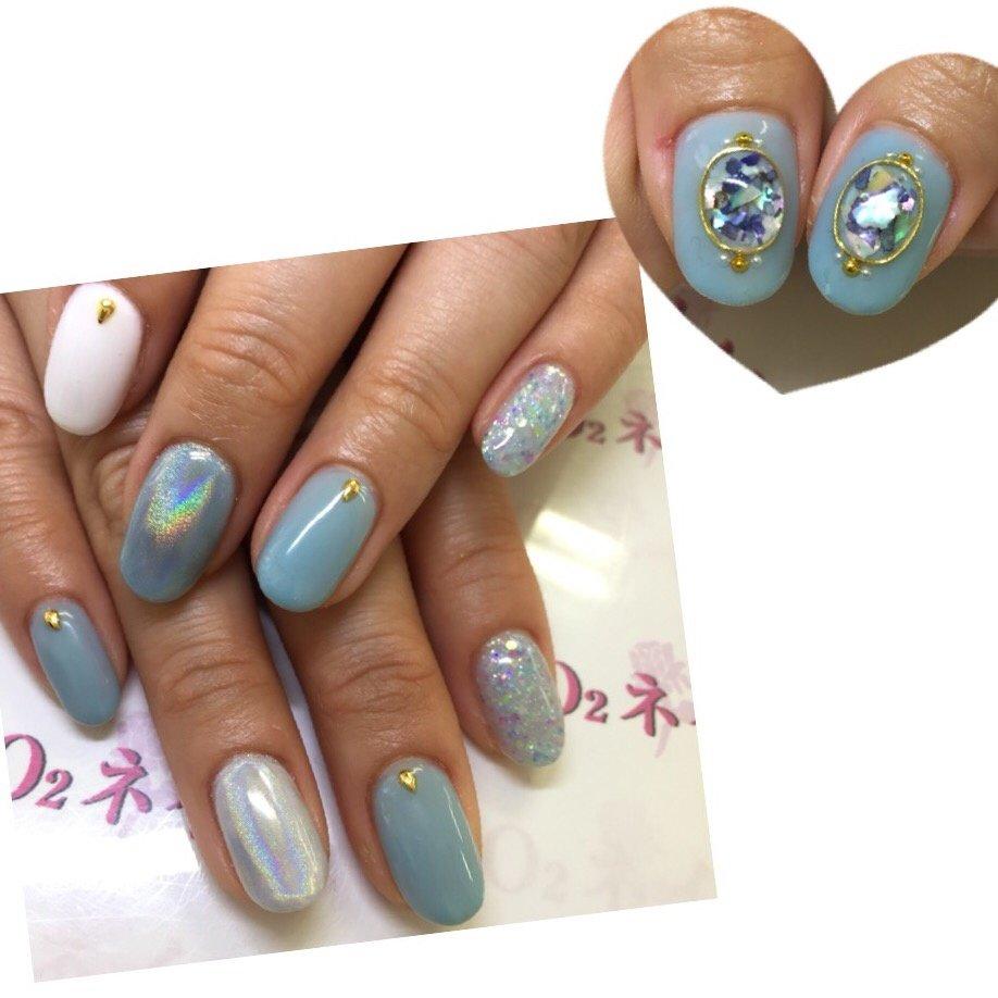#春 #夏 #梅雨 #ラメ #3D #ショート #ホワイト #水色 #ジェル #mina0515 #ネイルブック