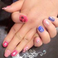 Alice nail♡ #ハンド #キャラクター #ミディアム #ピンク #水色 #お客様 #ai⍤⃝♡ #ネイルブック