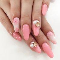 バラアート🌹ネイル💅 #春 #フラワー #ピンク #ジェル #yoko19 #ネイルブック