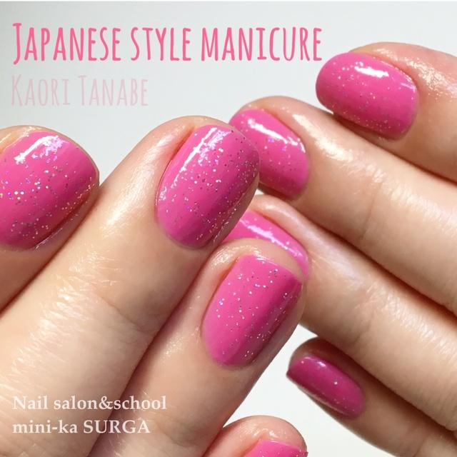 日本式のウォーターケアとマニキュアポリッシュでのカラーリングは、世界一!ケアカラーはネイルサロンの基本のキ! #オフィス #オールシーズン #女子会 #ピンク #ラメ #お客様 #マニキュア #ワンカラー #ハンド #ショート #kaori_tanabe #ネイルブック