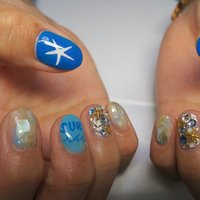 summer nail!!今年トレンドのビックシェル埋め込み❤︎ #夏 #梅雨 #海 #ハンド #ショート #ブルー #ゴールド #シルバー #ジェル #lovejewelry nail #ネイルブック