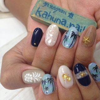 アロハ☆パイナップル☆ヒトデ☆やしのき #kahuna Nail #ネイルブック