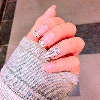 my nail♡ #オールシーズン #ブライダル #デート #ハンド #フレンチ #ラメ #ビジュー #ミディアム #ゴールド #シルバー #ジェル #セルフネイル #maco* #ネイルブック