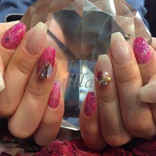 大理石ネイル(⌒▽⌒)と3D nail art❤︎ #ハンド #グラデーション #エスニック #シースルー #シュガー #3D #ミディアム #クリア #ピンク #オレンジ #ネイルサロン Brillant #ネイルブック