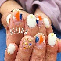 おしゃれネイル♡ #ハンド #ショート #ホワイト #オレンジ #ブルー #ジェル #お客様 #Astina #ネイルブック