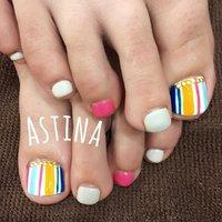 ◡̈⃝⋆* 多色のストライプ #フット #ショート #ホワイト #ピンク #ジェル #お客様 #Astina #ネイルブック