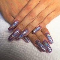 ユニコーンネイル🦄可愛すぎるー!!❤︎こちらは、スカルプ4000+ジェルネイル4000です(o^^o) #夏 #梅雨 #リゾート #パーティー #ハンド #ラメ #ワンカラー #ホログラム #ロング #パープル #スカルプチュア #lovejewelry nail #ネイルブック