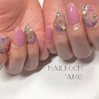 紫陽花カラーのネイル♡ 梅雨も楽しく♡ #ハンド #フラワー #イニシャル #シースルー #クリア #ピンク #パープル #ジェル #NAIL ROOM 'AMO #ネイルブック