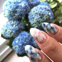 紫陽花♪ #夏 #旅行 #海 #ハンド #フラワー #ブルー #ジェル #セルフネイル #salon_de_bijoux #ネイルブック