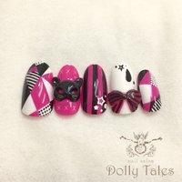 *ジェルプラン*3D追加 #痛ネイル #キャラクター #ジオメトリック #3D #ピンク #ブラック #ビビッド #DollyTales_nail #ネイルブック